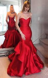 Elegant Satin Mermaid Sweetheart Sleeveless Prom Dress With Open Back Ruffles