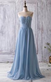 Sweetheart Pleated A-line Chiffon Long Dress With Bandage