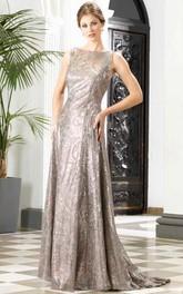 Sheath Sleeveless Bateau Beaded Long Prom Dress With Sequins And Low-V Back