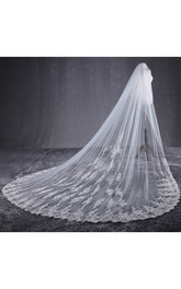 Ethereal Cathedral Tulle Wedding Veil with Lace Appliques