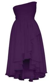 One-shoulder High-low Layered Ruffled Chiffon Dress
