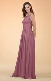 Casual One-shoulder A Line Sleeveless Floor-length Chiffon Bridesmaid Dress With Ruching
