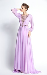 A-Line Floor-length Sweep Brush Train Bateau Chiffon Long Sleeve Prom Dress with Beading and Pleats