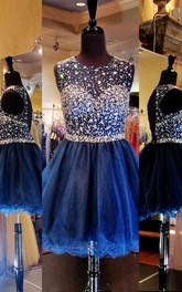 A-line Scoop Sleeveless Rhinestone Short Tulle Dresses