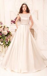 A-Line Maxi Scoop Cap-Sleeve Deep-V-Back Satin Dress With Waist Jewellery