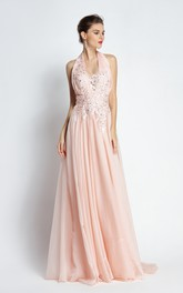 A-Line Floor-length Sweep Brush Train Halter Chiffon Sleeveless Prom Dress with Appliques and Pleats