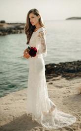 Ethereal Sheath Illusion Bat Sleeve Low-V Back Bridal Gown