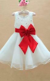 A-line Scoop Sleeveless Floor-length Bowknot Organza Flower Girl Dresses
