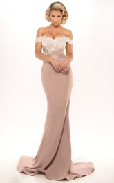 Mermaid Floor-Length Off-The-Shoulder Appliqued Jersey Prom Dress With Backless Style And Sweep Train