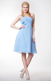 Crisscross Sweetheart Knee Length A-line Chiffon Gown