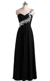 One-shoulder A-line Gown With Leaf-like Beadings