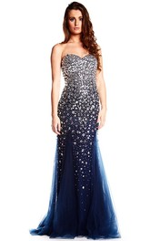 Sweetheart Floor-Length Crystal Tulle Prom Dress With V Back