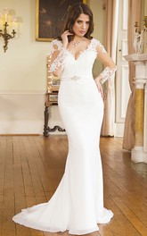 Mermaid Maxi V-Neck Illusion Sleeve Appliqued Chiffon Wedding Dress