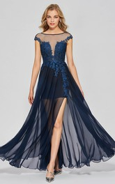 A-line Sexy Split Front Bateau Chiffon Gown With Lace Appliques And Deep V-back