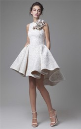 High Low Jewel Neckline A-Line Flower Appliqued Party Dress