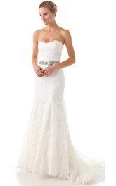 Long Sweetheart A-line Lace Dress With Beaded Belt