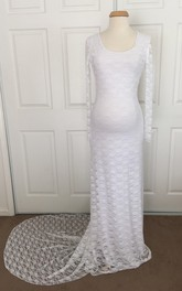 Lace Sheath Illusion Long Sleeve Scoop Maternity Wedding Dress