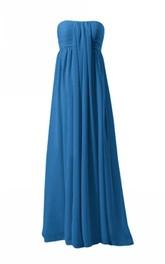 Strapless Ruched Bodice Long Layered Chiffon Dress