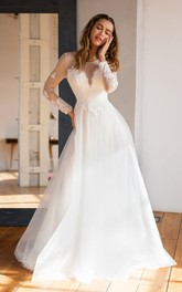 Lace Tulle Floor-length A Line Long Sleeve Modest Wedding Dress with Beading