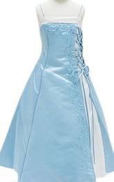Sleeveless A-line Side-splited Dress With Spaghetti Straps