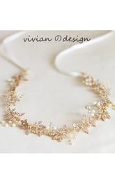 Western Style Golden Retro Diamond Forest Fairy Hair Ornaments Wreath
