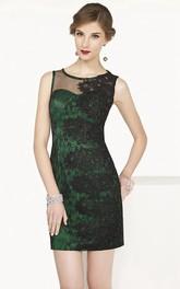 Jewel Neck Sheath Lace Short Prom Dress Illusion Style