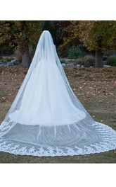 Single Layer Wedding Veil With Long Tail and Lace Edge