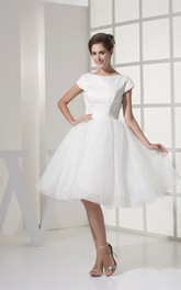 Mini-Sleeve Midi A-Line Gown With Pleats