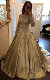 Ball Gown Satin Lace Off-the-shoulder Long Sleeve Zipper Dress