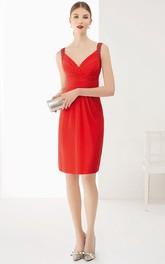 V Neck Crystal U Back Knee Length Chiffon Prom Dress With Bandage