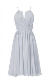 High-neck Short Chiffon Dress With Pleats