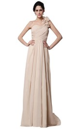 One-shoulder Long Chiffon Dress With Flowers
