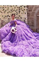Glamorous Purple Off-the-shoulder Wedding Dress 2018 Long Train Flowers