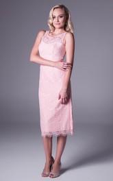 Tea-Length Sheath Splitted Sleeveless Scoop Neck Lace Prom Dress