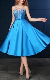 Sheer Neck Beading Sashes Tea-Length Prom Dress