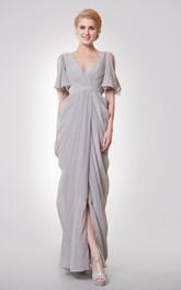 Unique Low-v Neck Off Shoulder Empire Long Dress With Straps