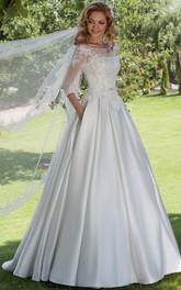 Floor-Length Ball Gown Appliqued Scoop Neck 3-4 Sleeve Satin Wedding Dress