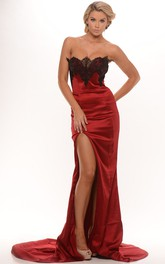 Sheath Strapless Lace Sleeveless Maxi Satin Prom Dress With Zipper Back And Split Front
