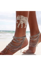Western Style Retro Fashion Exaggeration Heavy Chain Multi-layer Crystal Beads Dripping Tassel Anklet 29Cm