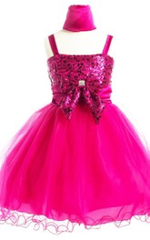 Sleeveless A-line Sequined Dress With Straps and Bows