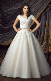 Princess Lace and Tulle Wedding Gown with Glittering Sash and Appliques