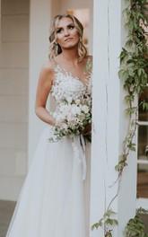 Lace Tulle Floor-length Sweep Train A Line Sleeveless Bohemian Wedding Dress