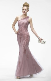 Mermaid One Shoulder Elegant Sleeveless Tulle Dress With Appliques And Zipper