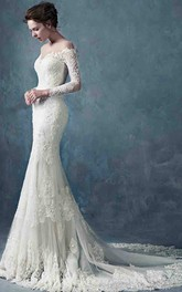 Off The Shoulder Long Lace Sleeve Lace Gown