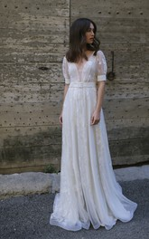 Sexy Tulle Plunging Neck Long Wedding Dress with Sash and Pleats