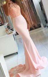 Mermaid Trumpet Satin Lace High Neck Sleeveless Zipper Dress