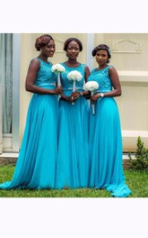 A-line Sleeveless Appliques Zipper Chiffon Lace Dress