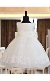 A-line Scoop Lace Sleeveless Floor-length Organza Flower Girl Dresses