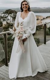 Simple Queen Anne A Line Floor-length Sweep Train Long Sleeve Wedding Dress