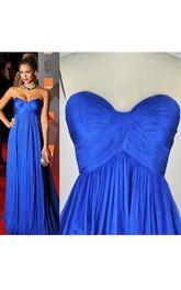 A-line Sweetheart Draping Long Pleats Chiffon Dress